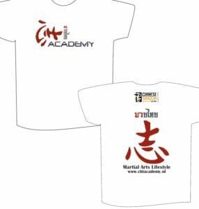 Nieuwe Chi Academy t-shirts. De tekening kan afwijken van de bedrukte t-shirts.